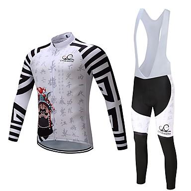 Langarm Fahrradtrikot mit Trägerhosen Fahhrad Kleidungs-Sets, warm halten Polyester Vlies Lycra Silikon