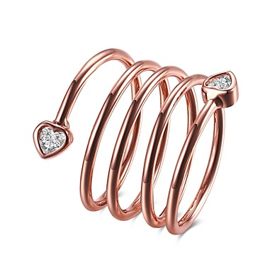 Dame Ring Kubisk Zirkonium Sølv Rose Gull Rose gull Zirkonium Kobber Sølvplett Geometrisk Form Line Formet Uregelmessig Personalisert