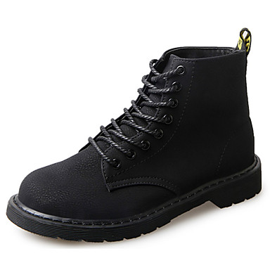 Women's Boots Combat Boots Summer Rubber Walking Shoes Outdoor Lace-up Low Heel Black Under 1in