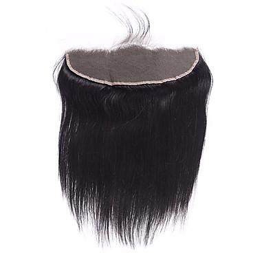12-20 brasiliansk jomfruhår naturlig svart 13x4 blonder foran lukning med blukte knuter rett blonder foran lukking med baby hår
