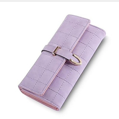 Women Checkbook Wallet PU All Seasons Casual Square Magnetic Pale Pink Gray Light Purple