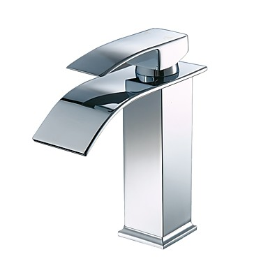 Centerset Waterfall Ceramic Valve Single Handle One Hole Chrome , Bathroom Sink Faucet