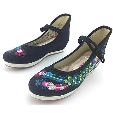 Mulheres Sapatos Tecido Primavera Outono Conforto Rasos Caminhada Sem Salto Ponta Redonda Presilha Flor para Casual Social Preto Vermelho