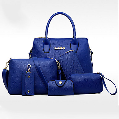 Women's Bags PU Tote 6 Pieces Purse Set for Casual Office & Career All Seasons Blue Gold White Black