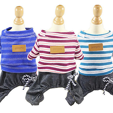Dog Jumpsuit Dog Clothes Stripe Dark Blue Red Blue Cotton Costume For Pets Men's Women's Casual/Daily