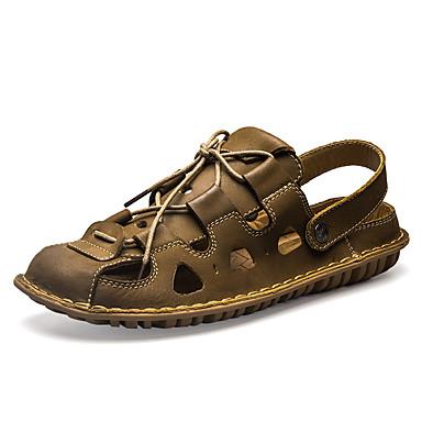 Miehet kengät Nahka Kesä Valopohjat Sandaalit Vesikengät Solmittavat Käyttötarkoitus Kausaliteetti Ruskea Khaki