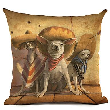 1 pcs Linen Pillow Case, Dog Modern / Contemporary