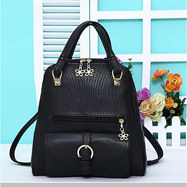 Women's Bags leatherette / PU Backpack Buttons Black