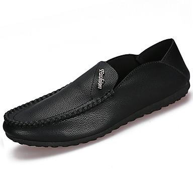 Homens sapatos Couro Ecológico Primavera Verão Conforto Mocassins e Slip-Ons para Casual Branco Preto Laranja