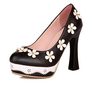 Mulheres Sapatos Courino Couro Ecológico Verão Outono Conforto Inovador Saltos Caminhada Salto Robusto Ponta Redonda Flor para Social