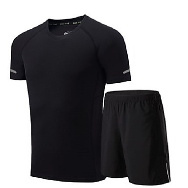 Men's Running T-Shirt with Shorts Moisture Wicking Quick Dry Breathable Clothing Suits for Running/Jogging Exercise & Fitness Loose Black