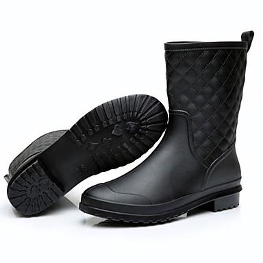 Naisten Kengät Tekonahka Kevät Kesä Kumisaappaat Bootsit Pyöreä kärkinen varten Kausaliteetti ulko- Musta Laivaston sininen