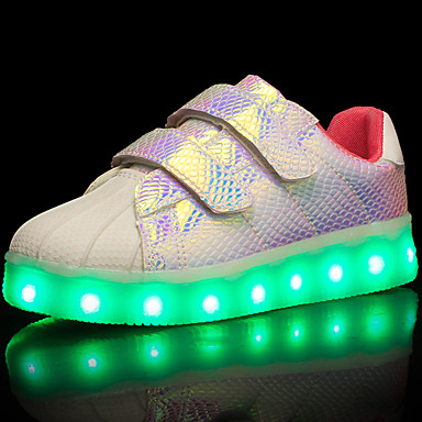 Girls' Shoes Tulle / Leatherette / PU Spring / Fall Comfort / Light Up Shoes Sneakers Walking Shoes Magic Tape / LED for Black / Purple /