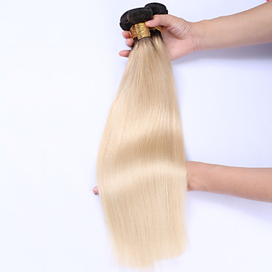 Beata Hair T1b/613 Dark Root Ombre Blonde Hair Bundles Ombre Color Straight Hair Weft 3PCS Brazilian Remy Human Hair Weave