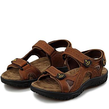 Herre sko Nappa Lær Sommer Høst Komfort Sandaler Vannsko Magisk teip til utendørs Lysebrun Mørkebrun Kakifarget