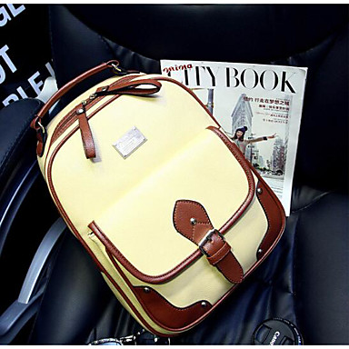 Men's Bags PU Backpack for Casual All Seasons White Black Yellow