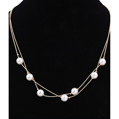 Women's Pendant Necklaces Imitation Pearl Circle GiltBasic Circular Geometric Fashion Vintage Punk Adjustable Hip-Hop Personalized Rock