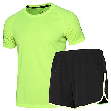 Homens Conjunto de Shorts e Camiseta de Corrida Manga Curta Pavio Humido Secagem Rápida Conjuntos de Roupas para Exercício e Atividade