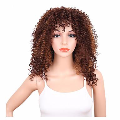Syntetiske parykker Kinky Curly Syntetisk hår Afroamerikansk parykk Brun Parykk Dame Kort Lokkløs