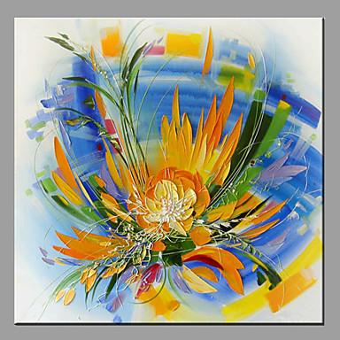 Pintados à mão Floral/Botânico Panorâmico horizontal, Moderno/Contemporâneo Tela de pintura Pintura a Óleo Decoração para casa 1 Painel