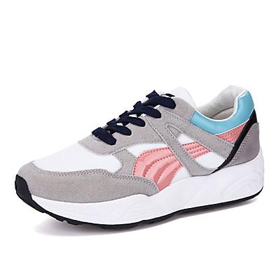 Gris Zapatos Otoño Atletismo Goma Con Rosa Azul Confort de Primavera Dedo 06018130 Mujer Zapatillas Plano Cordón Tacón redondo tdxqR60wt