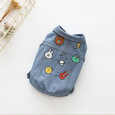 Cachorro Camiseta Jaquetas Jeans Roupas para Cães Casual Vaqueiro Desenho Animado Ocasiões Especiais Para animais de estimação