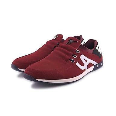 Homens sapatos Tecido Primavera Outono Conforto Tênis Caminhada para Casual Ao ar livre Vermelho Escuro