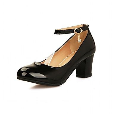 Mulheres Sapatos Couro Ecológico Courino Sintético Verão Outono Inovador Conforto Saltos Caminhada Salto Robusto Ponta Redonda Pedrarias