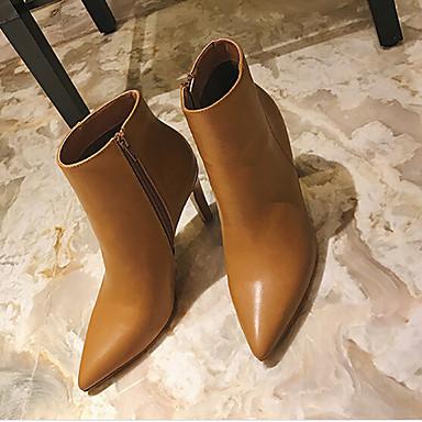 Naiset Bootsit Comfort PU Kevät Kausaliteetti Comfort Musta Ruskea 2-2,75in