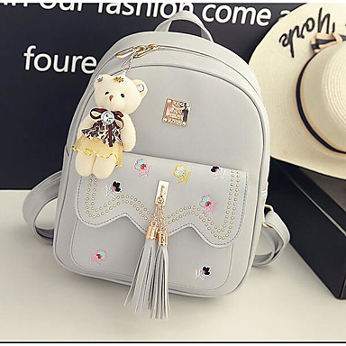 Women Bags All Seasons PU Backpack for Casual White Black Gray