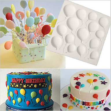 Birthday BALLOONS Fondant Cake Silicone Molds Cupcake Mould Baking Tools Chocolate  Confeitaria