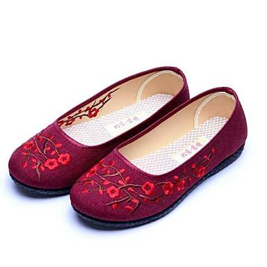 Mulheres Sapatos Tecido Primavera Outono Solados com Luzes Conforto Rasos Sem Salto Ponta Redonda Flor para Preto Vermelho Escuro
