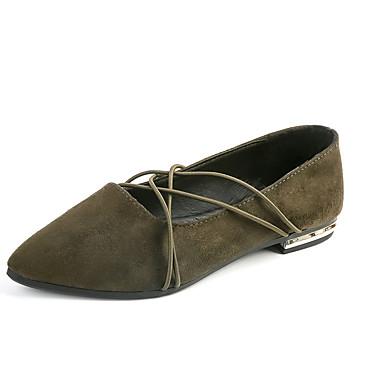 Dame Flate sko Mokkasin Velourisert PU Sommer Avslappet Formell Gange Mokkasin Flat hæl Gull Svart Grønn Flat
