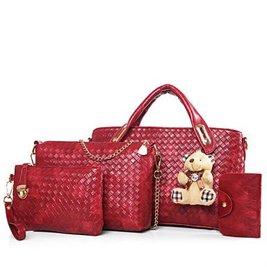 Mulheres Bolsas Outros Tipos de Couro Conjuntos de saco Conjunto de bolsa de 4 pcs para Casual Todas as Estações Azul Preto Vermelho Bege