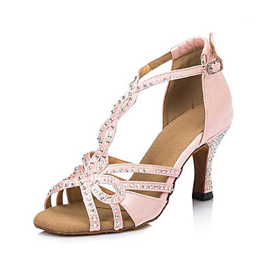Women's Latin Satin Heel Indoor Rhinestone Stiletto Heel Black Pink 3