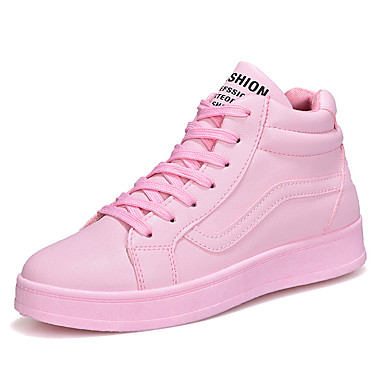 Women's Sneakers Comfort Spring Fall Rubber Walking Shoes Outdoor Lace-up Flat Heel White Black Blushing Pink Under 1in