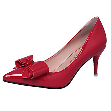 Women's Heels Basic Pump Summer Patent Leather PU Walking Shoes Wedding Casual Office & Career Dress Party & Evening Stiletto Heel Black