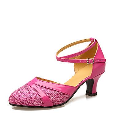 baratos Super Ofertas-Mulheres Materiais Customizados / Courino Sapatos de Dança Moderna Recortes Salto Salto Personalizado Personalizável Roxo / Fúcsia / Marron / Interior