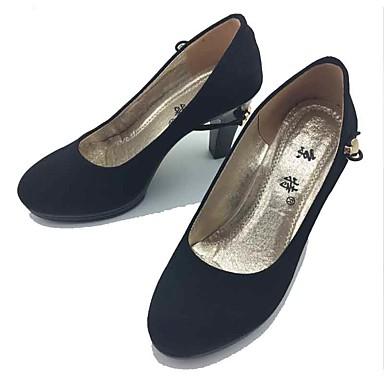 Mulheres Sapatos Tecido Primavera Outono Sapatos formais Conforto Saltos Salto Robusto Ponta Redonda Elástico para Escritório e Carreira