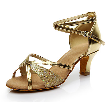 Women's Latin Leatherette Heels Performance Sequin Cuban Heel Silver Gold 1