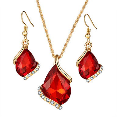 Women's Jewelry Set Bridal Jewelry Sets Necklace/Earrings Crystal Crystal Rhinestone Alloy Geometric Drop Luxury Geometric Dangling Style