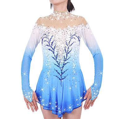 Eiskunstlaufkleid Damen Mädchen Eislaufen Kleider Blasses Blau Elasthan Strass Hochelastisch Leistung Eiskunstlaufkleidung Handgemacht