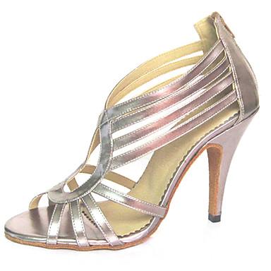 Mulheres Sapatos de Dança Latina Flocagem Sandália Cruzado Salto Agulha Personalizável Sapatos de Dança Prata / Rosa claro / Espetáculo