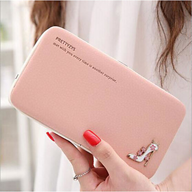 Women Checkbook Wallet PU All Seasons Casual Rectangle Toggle Clasp Black Azure Blushing Pink