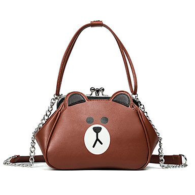Women Bags All Seasons PU Shoulder Bag for Casual White Yellow Clover Brown
