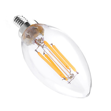 YWXLIGHT® 4W 300-400 lm E12 LED-lysestakepærer C35 4 leds COB Mulighet for demping Dekorativ Varm hvit AC 110-130V