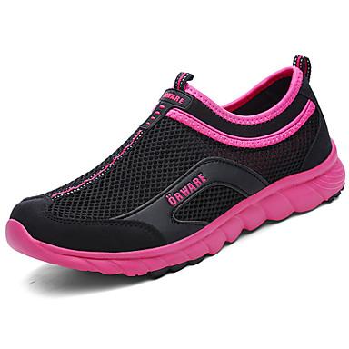 Mulheres Sapatos Malha Respirável Verão Solados com Luzes Mocassins e Slip-Ons Caminhada Sem Salto Ponta Redonda para Casual Preto