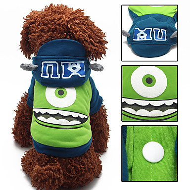 Monster Dog Hoodie Dog Clothes Green Cotton Costume For Pets Unisex Cosplay Keep Warm
