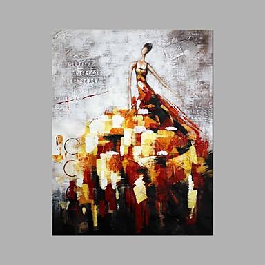 Pintura a Óleo Pintados à mão - Pessoas Abstracto Tela de pintura