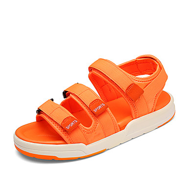 Herre sko Tekstil Vår Sommer Slingback Sko Lette såler Komfort Sandaler Magisk teip Til Avslappet Svart Oransje Grå Blå Lys Grønn